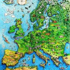 cartoon map of europe