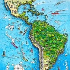 cartoon map - south america